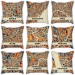 World map cotton and linen pillow car pillow cushion Madrid London Barcelona Milan Manchester Paris