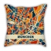 Map section Germany Munich city pillow sofa cotton and linen texture car pillow cushion gift