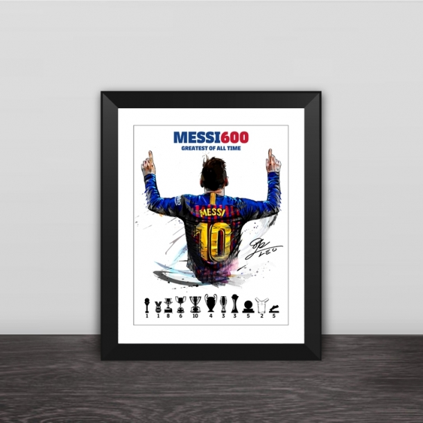 Barcelona Messi 600 ball goals photo frame