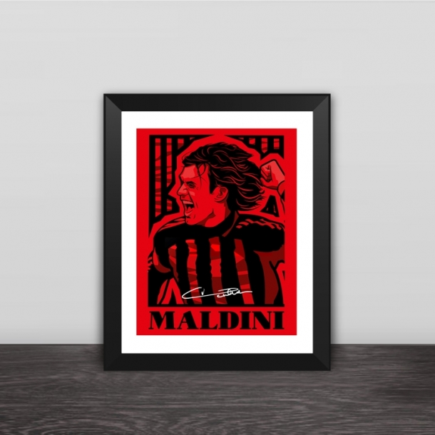 AC Milan Maldini illustration solid wood decorative photo frame photo wall
