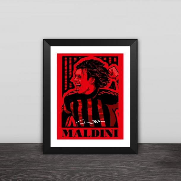 AC Milan Maldini illustration solid wood decorative photo frame photo wall