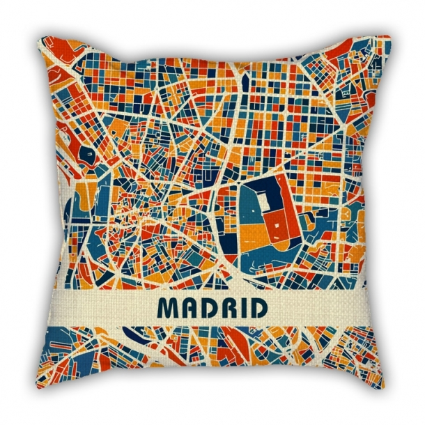 World map cotton and linen pillow car pillow cushion Madrid London Barcelona Milan Manchester Paris