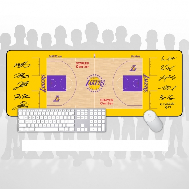 Los Angeles Lakers Arena floor signature large mouse pad Office keyboard pad table mat gift