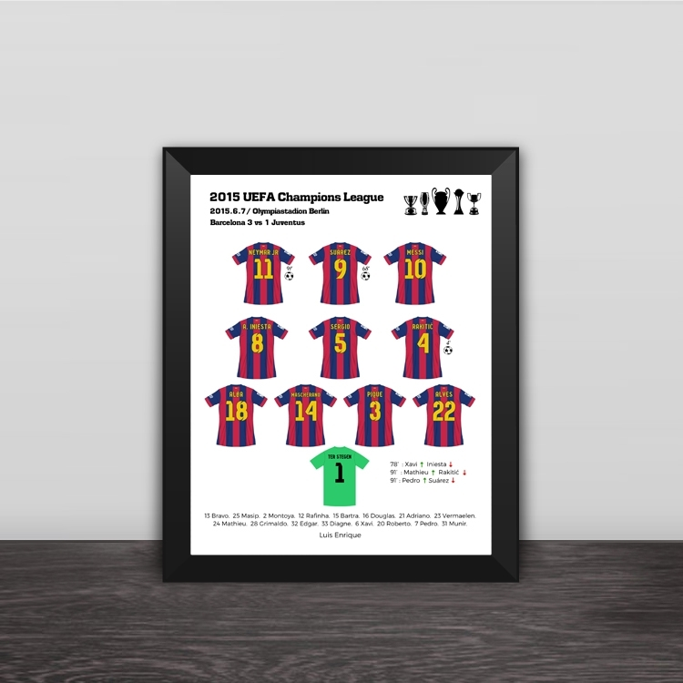 2011 Barcelona Champions League Classic Lineup Solid Wood Photo Frame